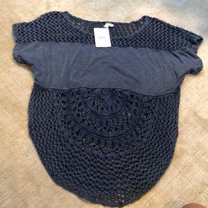 NWT free people half knit indigo shirt.